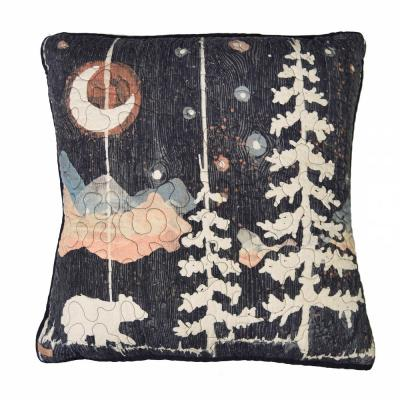 Moonlit Bear Black, Gold, Grey, White Polyester 18 in. x 18 in. Square Throw Pillow