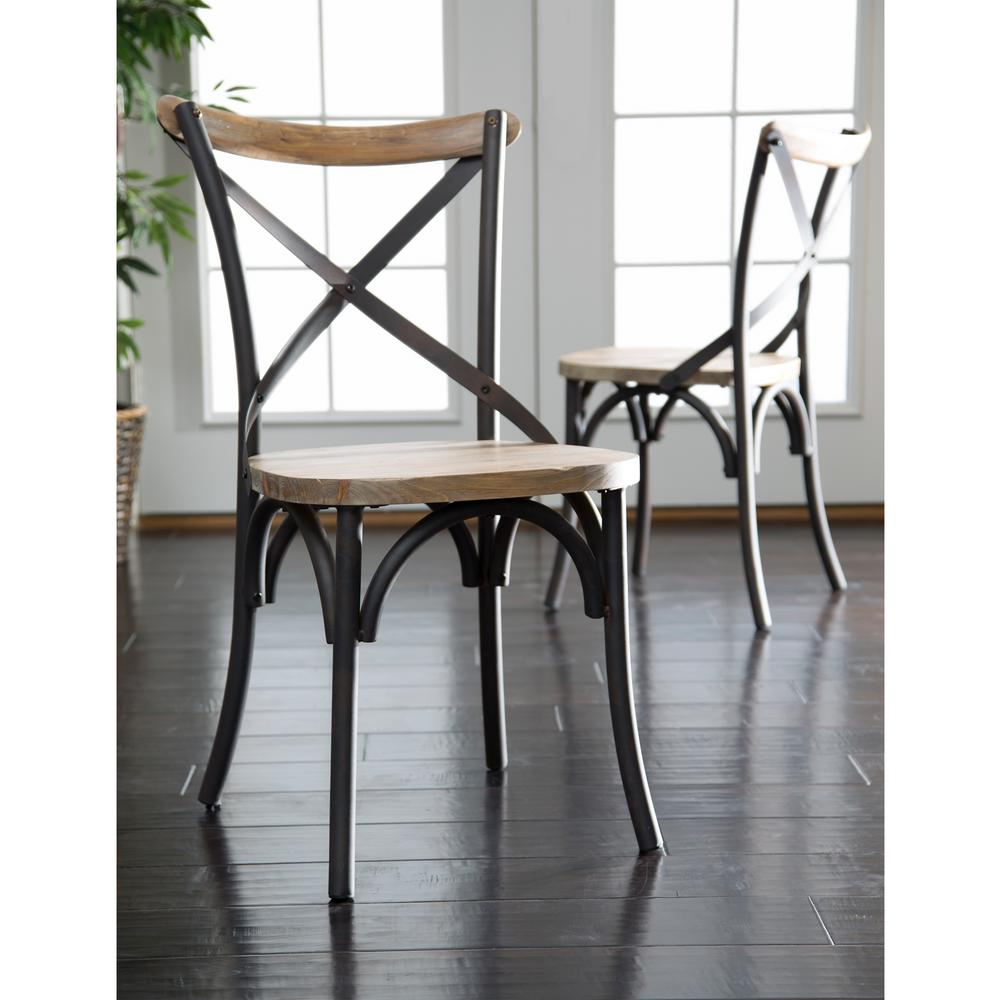 Walker Edison Furniture Company Brown Wood And Metal Dining Chair Set Of 2