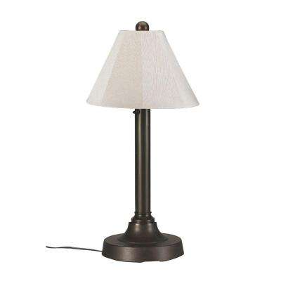 Superior Bronze OutdoorTable Lamp With Canvas Linen Shade