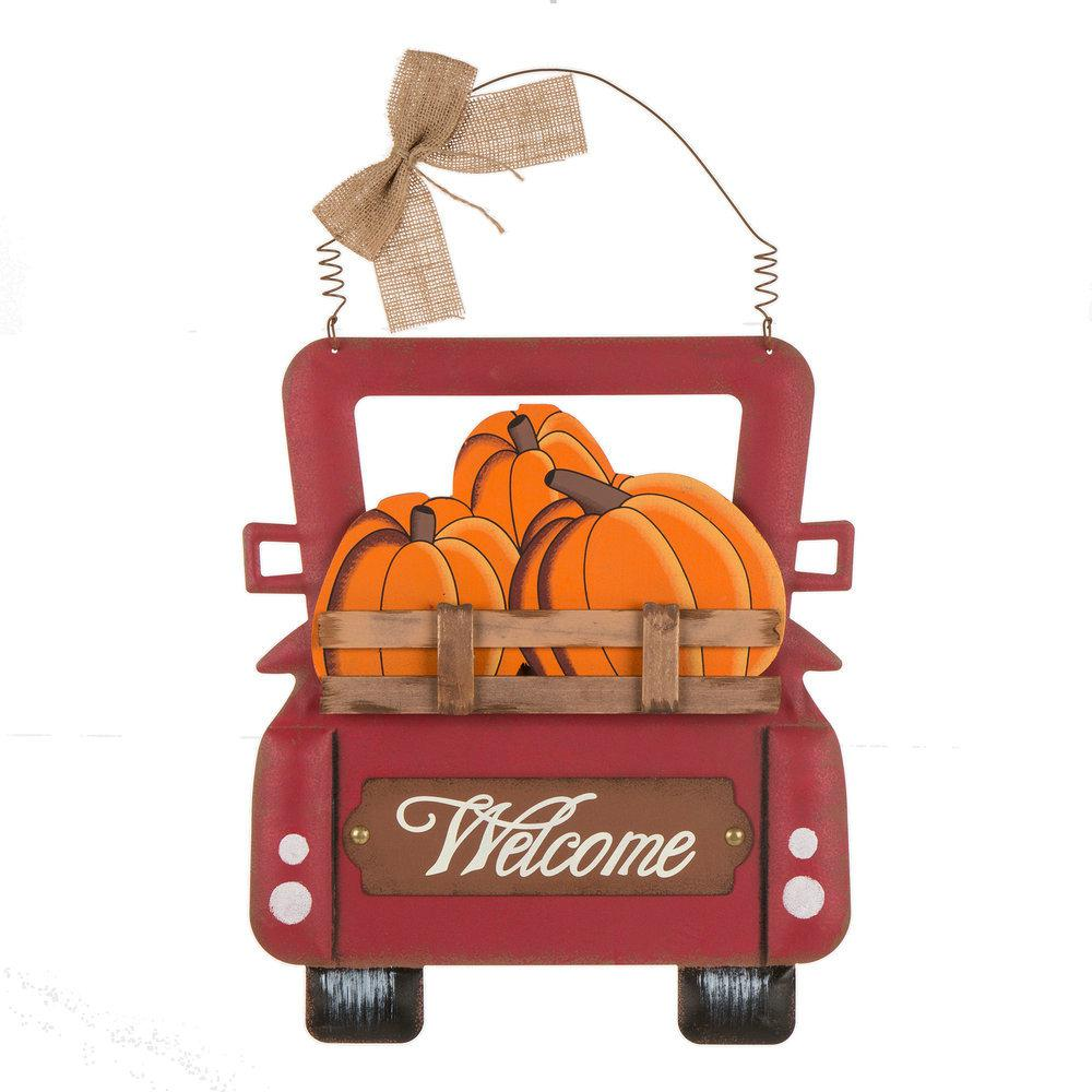 Glitzhome 15.87 in. H Wooden/Iron Pumpkins Truck Wall Decor
