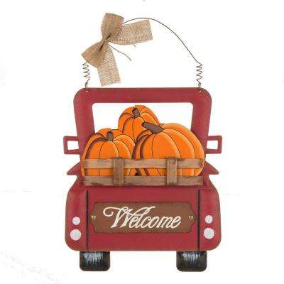 15.87 in. H Wooden/Iron Pumpkins Truck Wall Decor