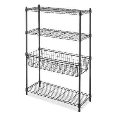 Supreme 36 in. H x 54 in. W x 14 in. D 4-Tier Wire Shelving Storage Center Rack in Black