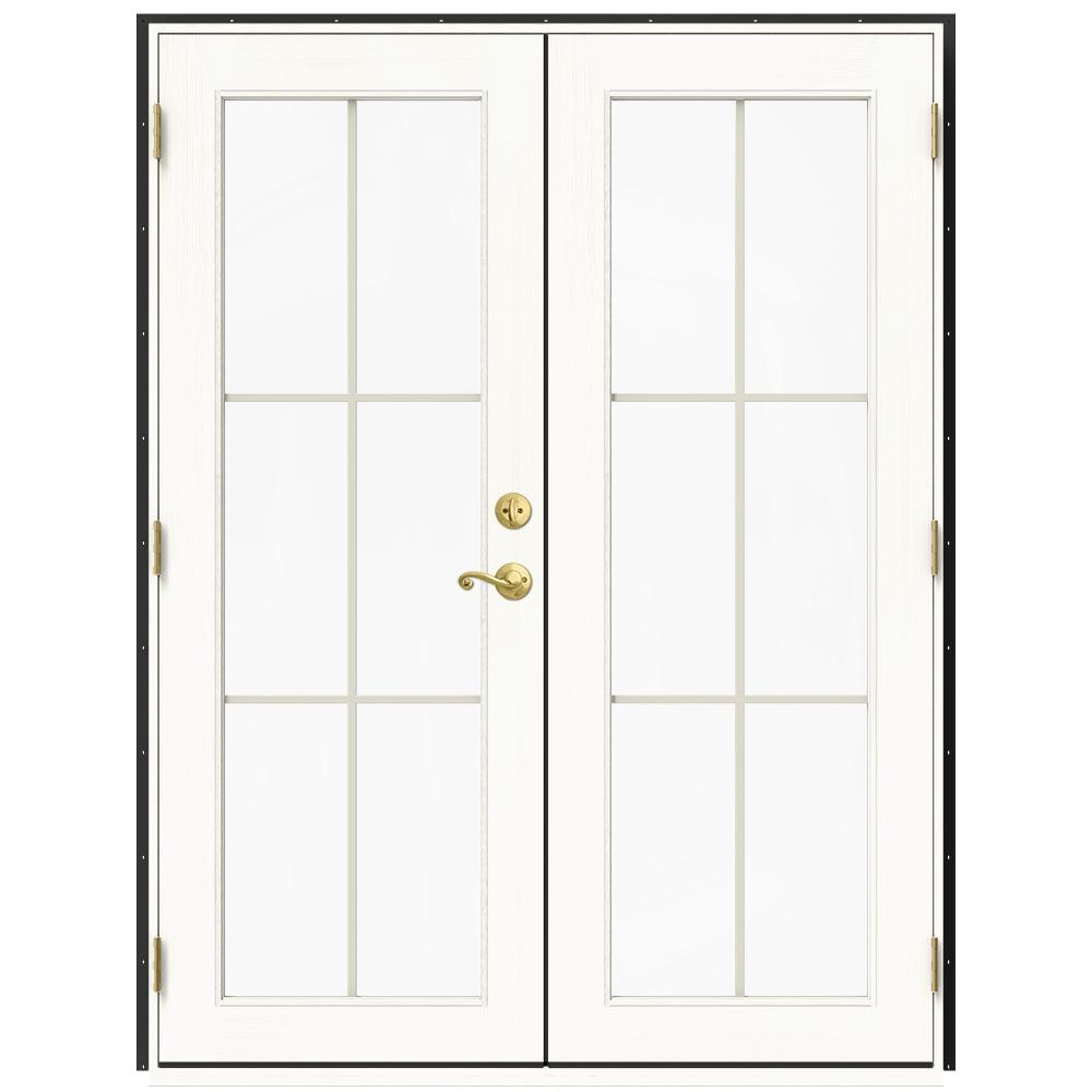 Jeld Wen 60 In X 80 In W 2500 Bronze Clad Wood Right Hand 6 Lite French Patio Door W White