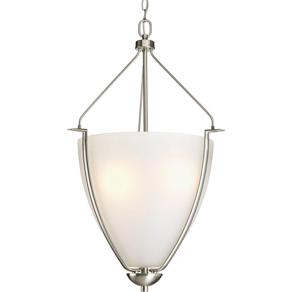 Progress Lighting Bravo Collection 3-Light Brushed Nickel Foyer Pendant with Etched Glass
