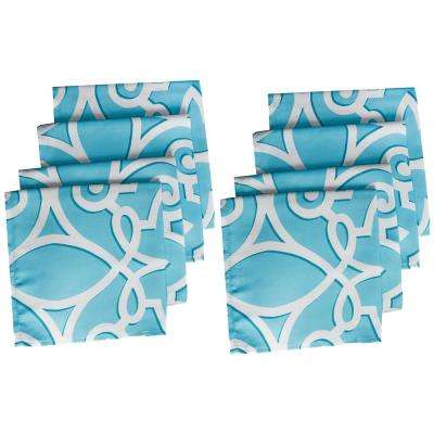 17 in. W x 17 in. L Turquoise Chase Geometric Stain Resistant Indoor Outdoor Napkins (Set of 8)