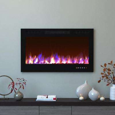 Bliss 36 in. Crystal Recessed Touch Screen Multi-Color Built-In Electric Fireplace in Black