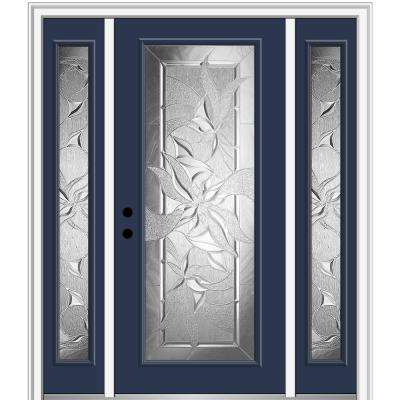 68.5 in. x 81.75 in. Impressions Right-Hand Full-Lite Decorative Painted Fiberglass Prehung Front Door with Sidelites