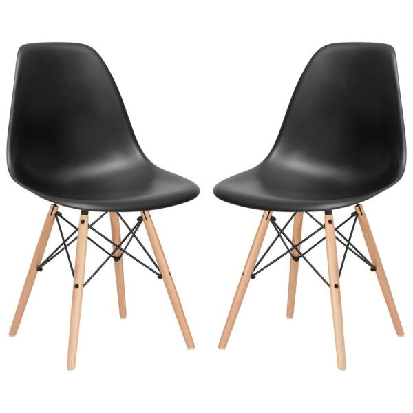 Poly and Bark Vortex Black Side Chair with Natural Legs (Set
