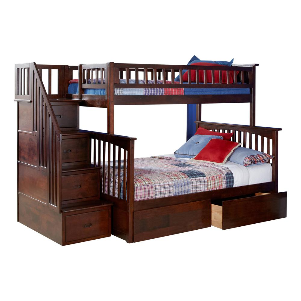 Columbia Staircase Walnut Twin Over Full Bunk Bed with 2-Urban Bed