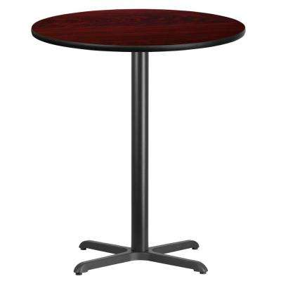 36 in. Round Black and Mahogany Laminate Table Top with 30 in. x 30 in. Bar Height Table Base