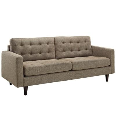 Empress 84.5 in. Oatmeal Polyester 4-Seater Tuxedo Sofa with Square Arms