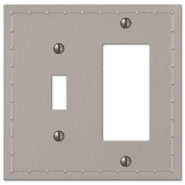 Rosa 2 Gang 1-Toggle and 1-Rocker Metal Wall Plate - Satin Nickel