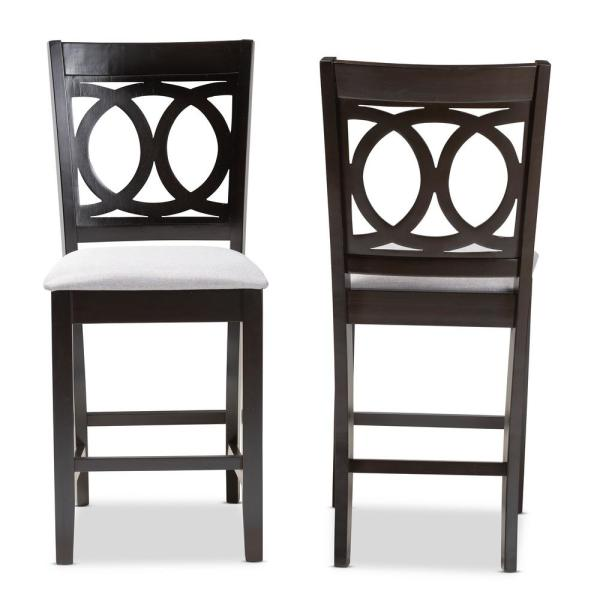 Baxton Studio Lenoir 43 in. Gray and Espresso Bar Stool (Set