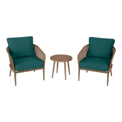 Coral Vista 3-Piece Brown Wicker Outdoor Patio Bistro Set with CushionGuard Malachite Green Cushions
