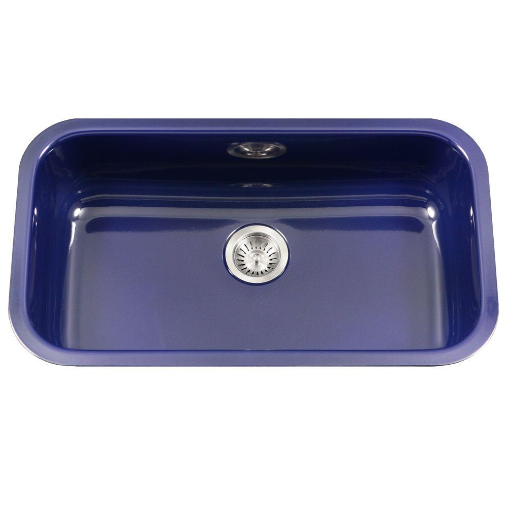 HOUZER Porcela Series Undermount Porcelain Enamel Steel 31 In. Large Single  Bowl Kitchen Sink In