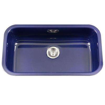 Porcela Series Undermount Porcelain Enamel Steel 31 in. Large Single Bowl Kitchen Sink in Navy Blue