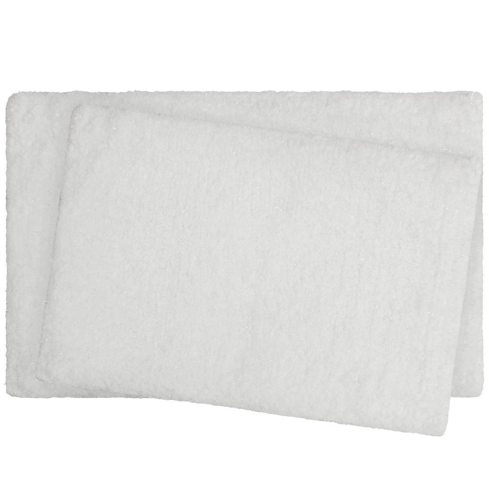 Rachel Lurex 17 in. x 24 in./20 in. x 34 in. 2-Piece Bath Rug Set, White