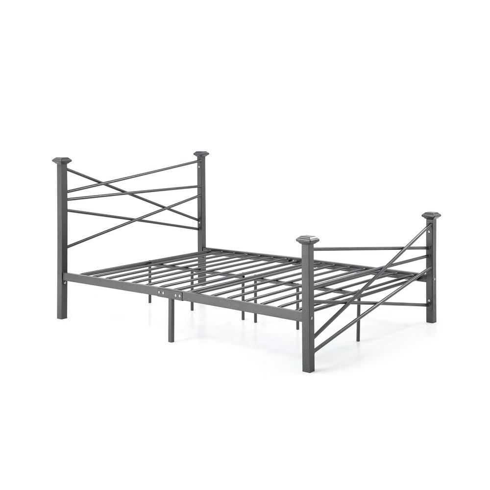 Hodedah Complete Metal Charcoal Queen Bed With Headboard Footboard