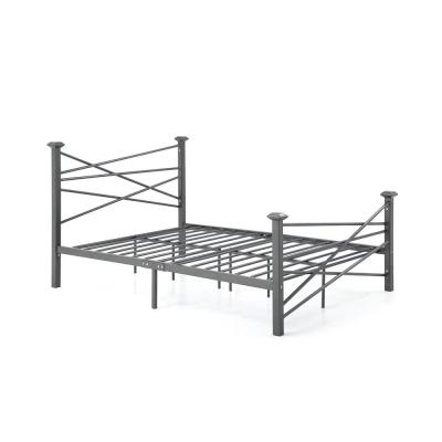 Complete Metal Charcoal Queen Bed with Headboard, Footboard, Slats and Rails