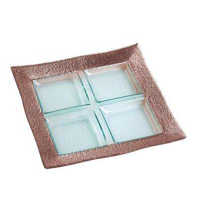 13 in. Studio Rose Gold Glass 4-Section Serving Platter