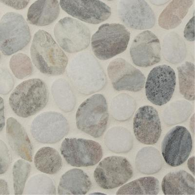 Puebla Greige Pebble 11.42 in. x 11.42 in. x 10mm Polished Marble Mesh-Mounted Mosaic Tile (9.1 sq. ft. / Case)