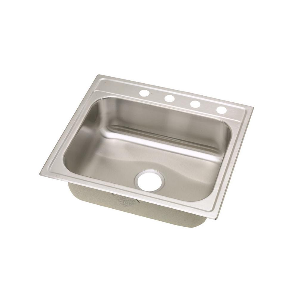 Elkay Signature Drop In Stainless Steel 25 in  4 Hole Single Bowl Kitchen  Sink SLPF25224   The Home Depot. Elkay Signature Drop In Stainless Steel 25 in  4 Hole Single Bowl