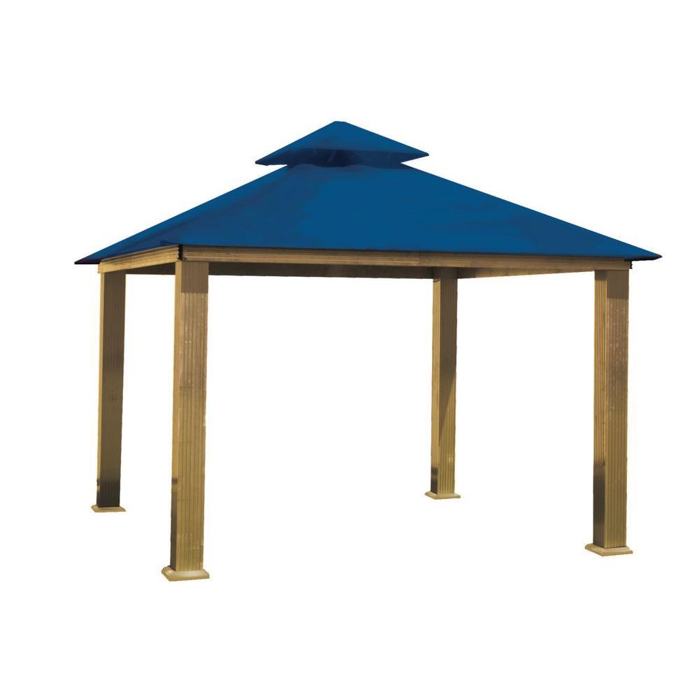 14 ft. x 14 ft. ACACIA Aluminum Gazebo with Cobalt Blue Canopy