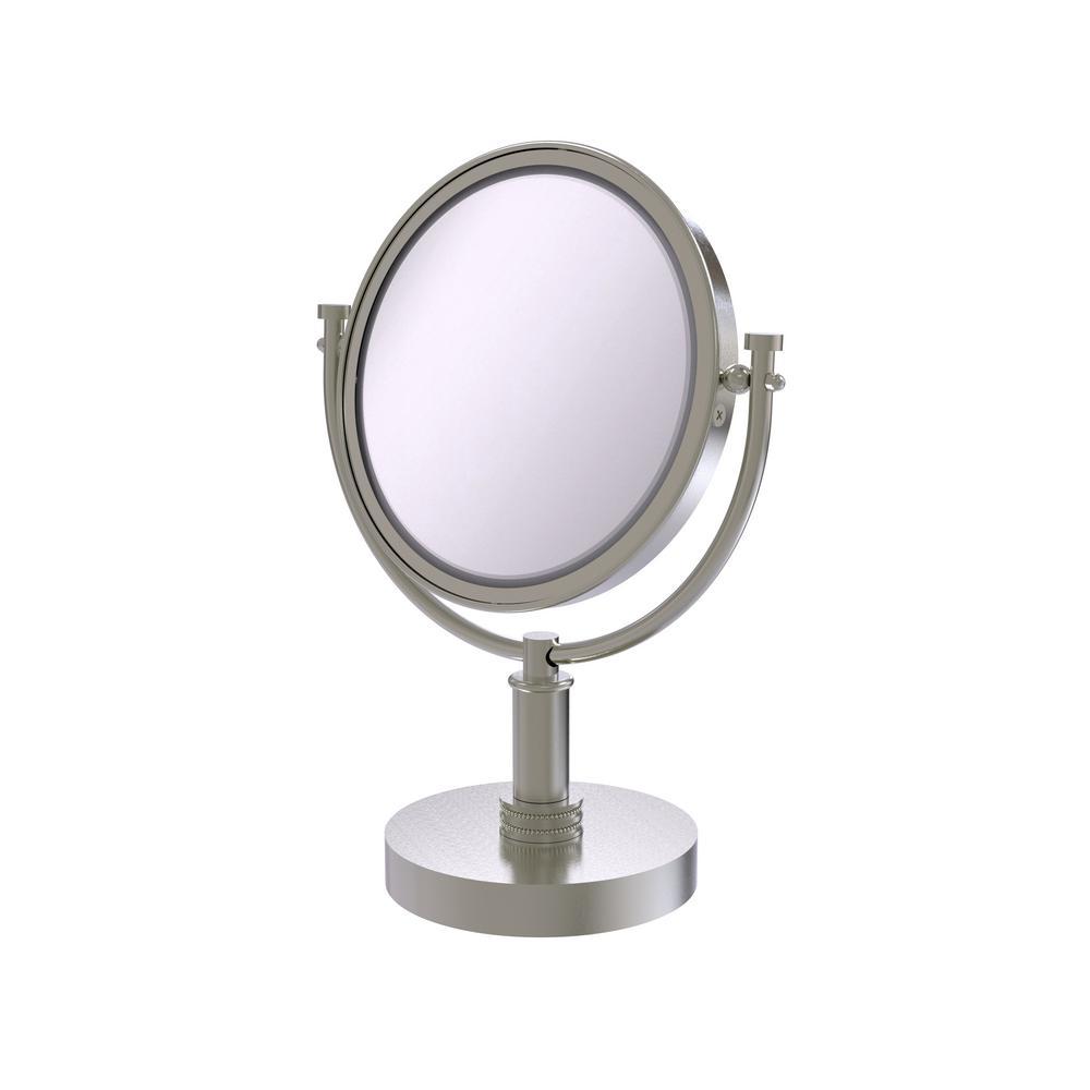 8 in. x 15 in. Vanity Top Makeup Mirror 3x Magnification in Satin Nickel