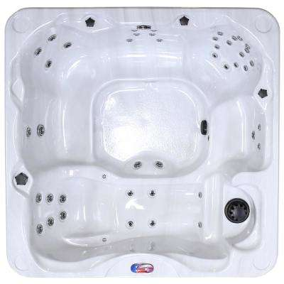 AQUA 6-person 45-Jet Premium Acrylic Lounger Spa Hot Tub with LED Waterfall and Cover