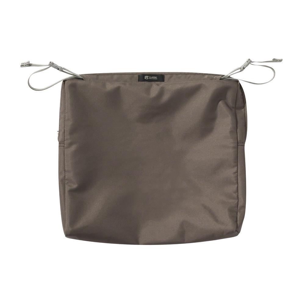 Ravenna 17 in. W x 15 in. D x 2 in. H Rectangular Patio Seat Cushion Slip Cover in Dark Taupe