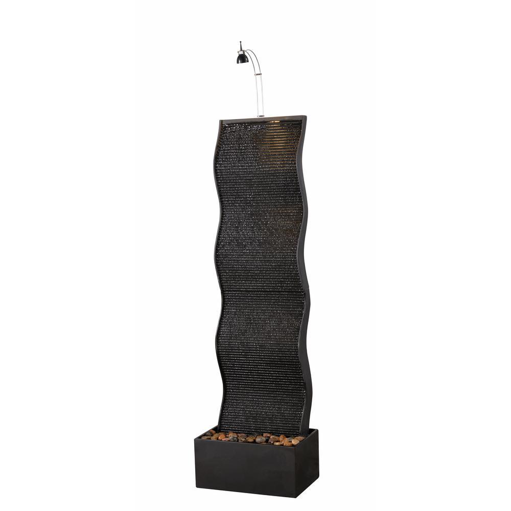 Ripple Black Resin Indoor Floor Fountain