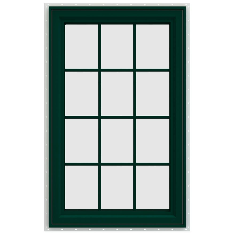 JELD-WEN 29.5 in. x 47.5 in. V-4500 Series Left-Hand Casement Vinyl Window with Grids - Green