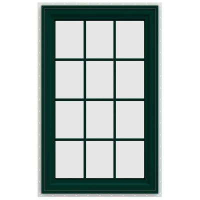 29.5 in. x 47.5 in. V-4500 Series Right-Hand Casement Vinyl Window with Grids - Green