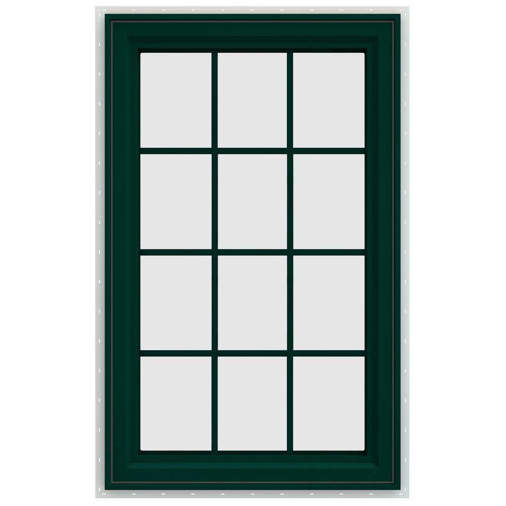 35.5 in. x 47.5 in. V-4500 Series Left-Hand Casement Vinyl Window with Grids - Green
