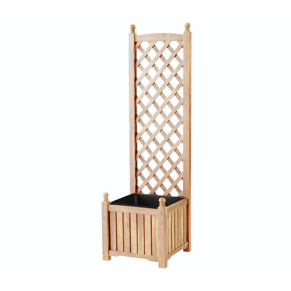 DMC Lexington 16 in. Square Natural Wood Planter with Trellis