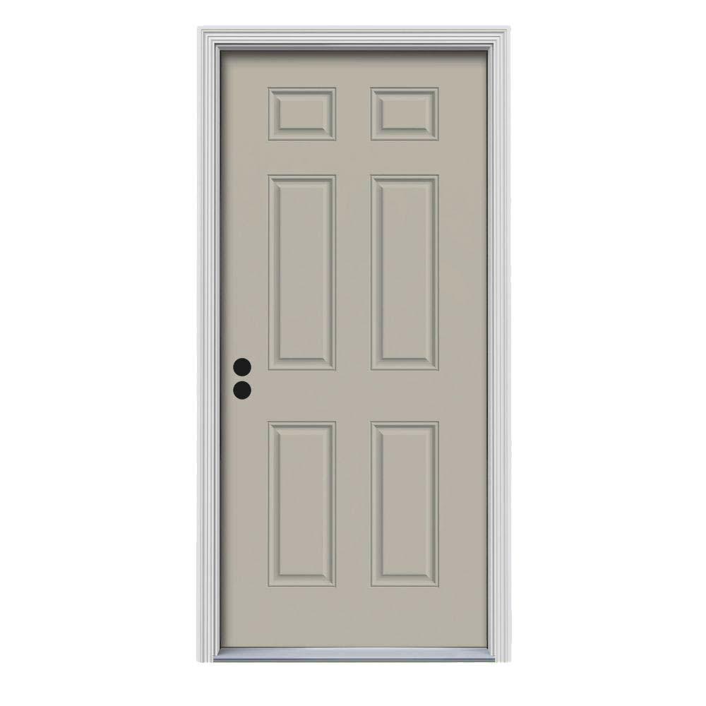 Tan - Right-Hand/Inswing - 6 Panel - Exterior Doors - Doors ... How To Paint A Panel Exterior Door on
