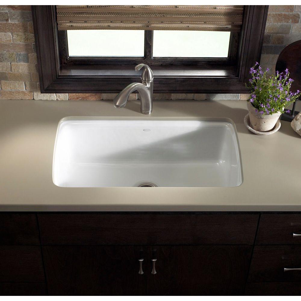 KOHLER Cape Dory Undermount Cast-Iron 33 in. 5-Hole Single Bowl Kitchen  Sink in White