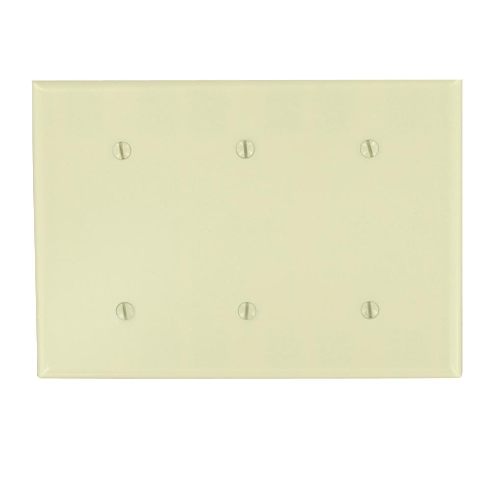 3-Gang No Device Blank Wallplate, Standard Size, Thermoset, Strap Mount, Ivory