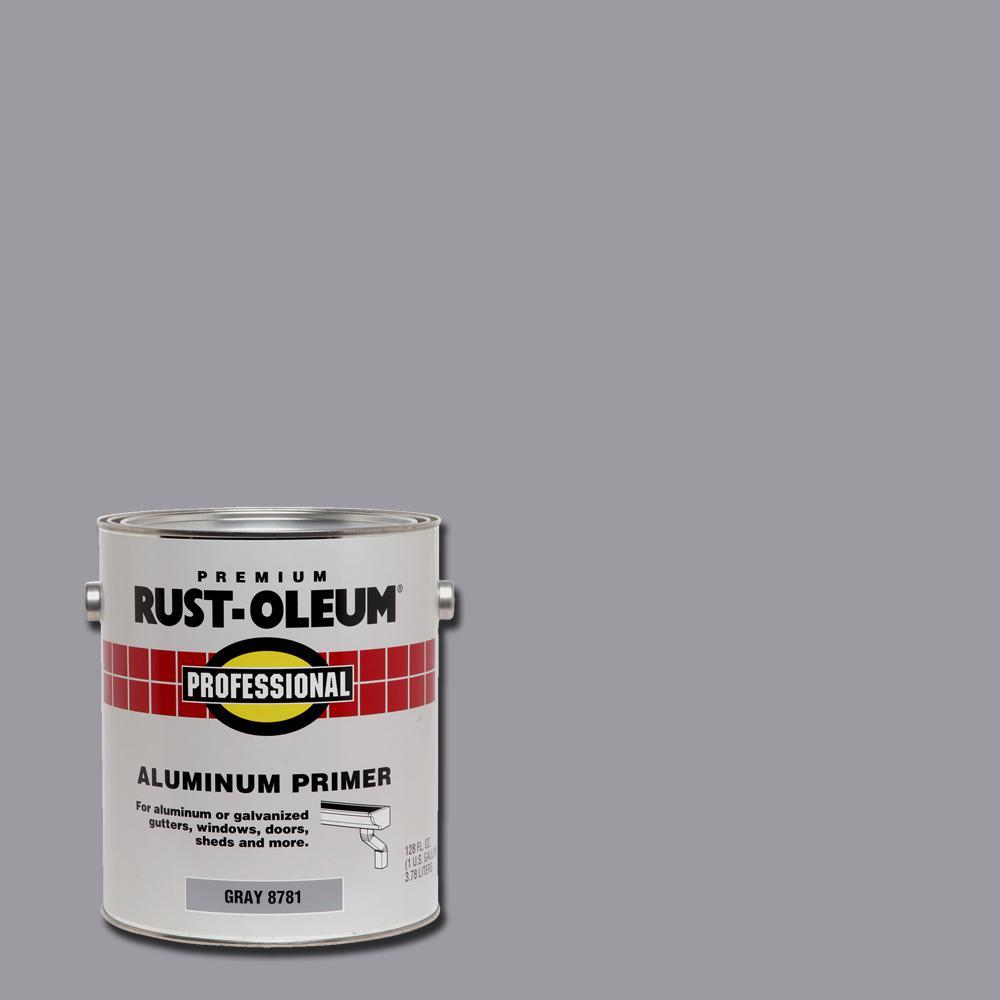 Rust-Oleum Professional 1 gal. Flat Gray Water-Based Interior/Exterior Aluminum Primer (2-Pack)