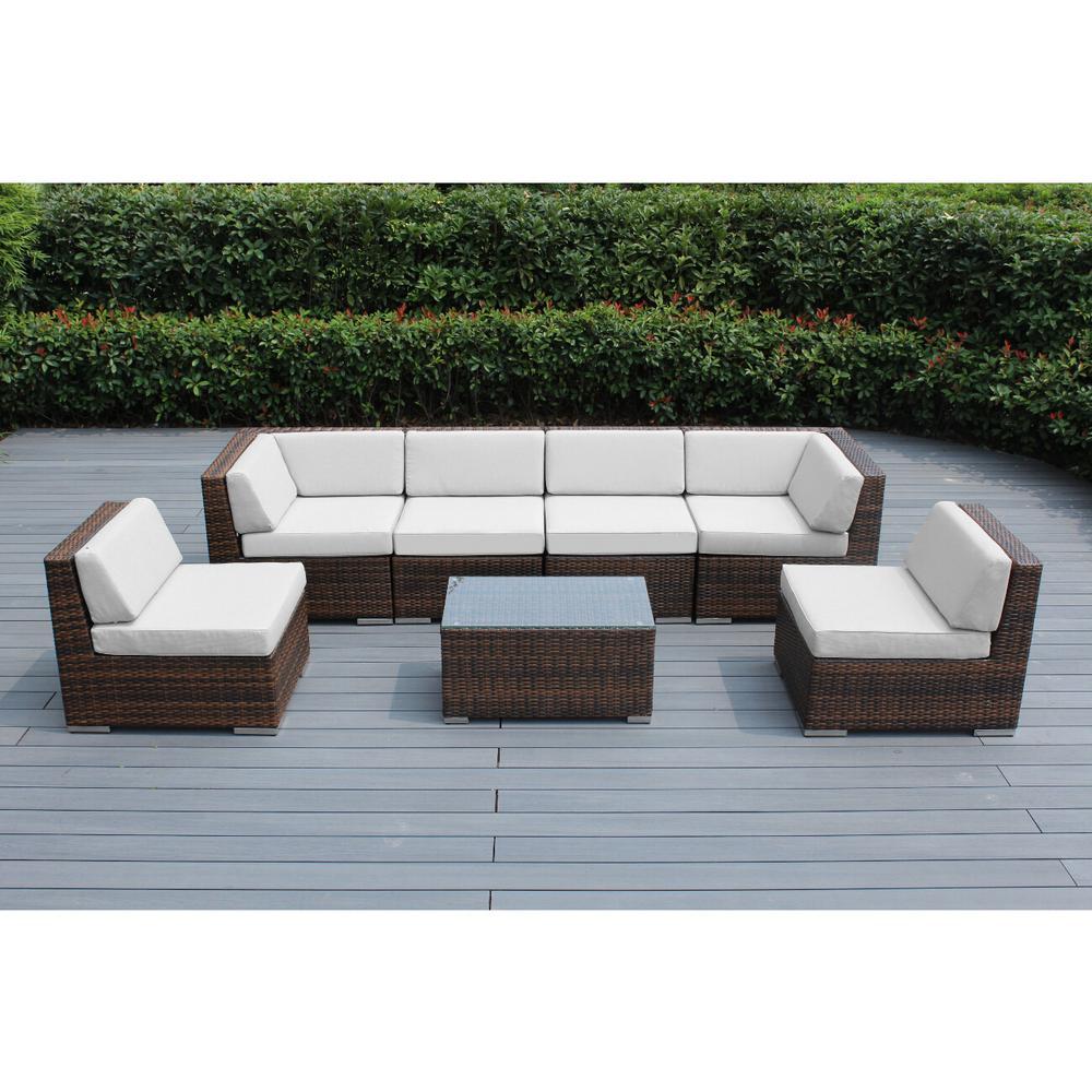 Ohana Depot Ohana Mixed Brown 7-Piece Wicker Patio Seating Set with Sunbrella Natural Cushions