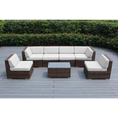 Ohana Mixed Brown 7-Piece Wicker Patio Seating Set with Sunbrella Natural Cushions
