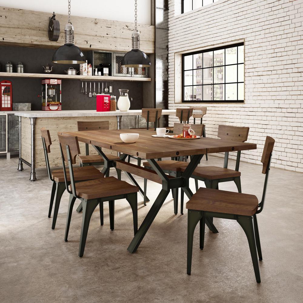Terrific Station Semi Transparent Gun Metal With Medium Brown Wood Seat Dining Chair Set Of 2 Bralicious Painted Fabric Chair Ideas Braliciousco