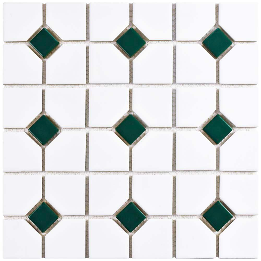 Merola Tile Oxford Matte White with Green Dot 11-1/2 in. x 11-1/2 in. x 6 mm Porcelain Mosaic Tile (9.2 sq. ft. / case)