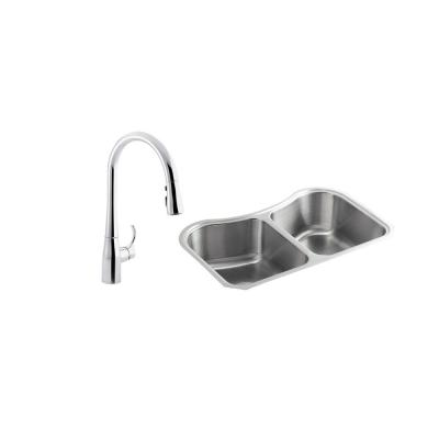 Staccato All-in-One Undermount Stainless Steel 31 in. Double Bowl Kitchen Sink with Simplice Kitchen Faucet
