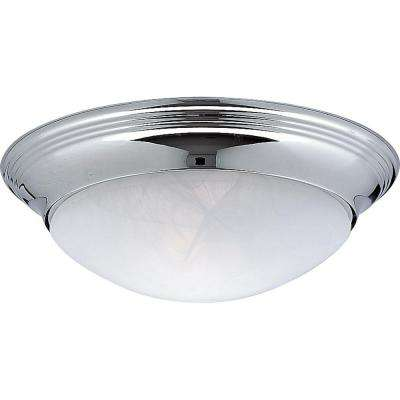 Alabaster Glass Collection 11.5 in. 1-Light Chrome Flushmount