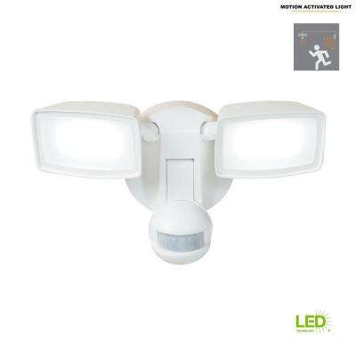 180-Degree White Dual-Position Motion Activated Sensor Outdoor Integrated LED Flood Light
