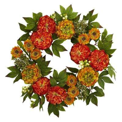 24 in. Peony and Mum Wreath