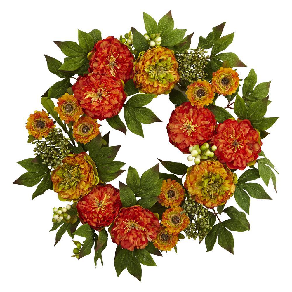 24 in. Peony and Mum Wreath