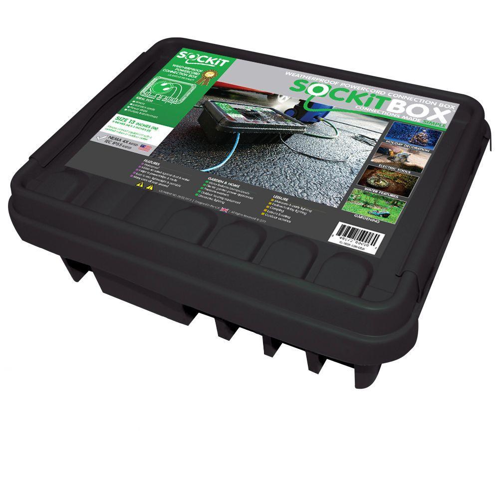 SOCKiTBox SOCKiT Box 16 in. Weatherproof Powercord Connection Box, Black