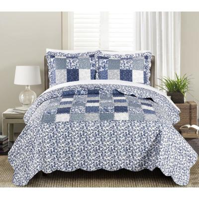 MHF Home Julia 3-piece Twin Reversible Floral Patchwork Quilt Set